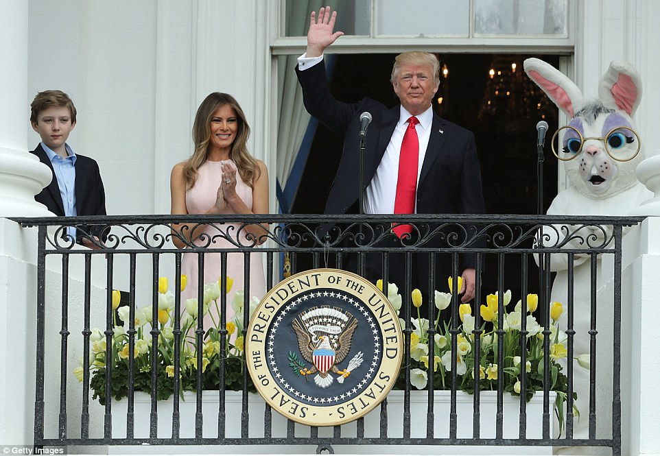 Both the president and first lady spoke on the Truman Balcony as their 11-year-old son Barron and the Easter Bunny watched on