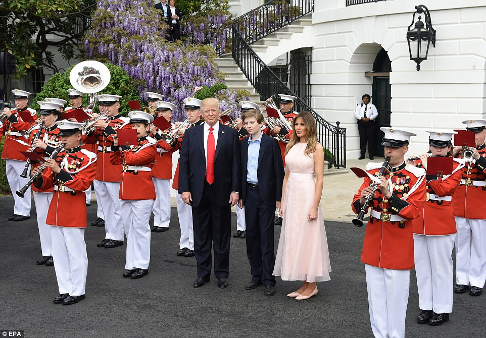 The First Family was heralded in by a marching band after making their introductory remarks on the Truman balcony