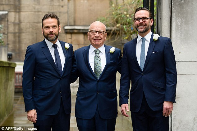 Time to go: This report comes as Rupert Murdoch is reportedly considering terminating O'Reilly according to three sources (l to r: Lachlan, Rupert and James Murdoch in March 2016)
