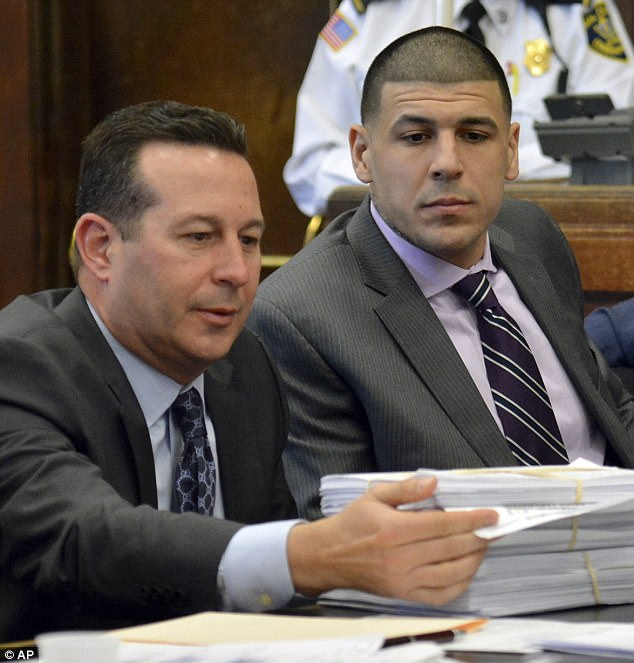 Aaron Hernandez's lawyer Jose Baez (above with him at his trial in February) cast doubt over his suicide on Wednesday and announced his family's plan to launch an investigation into it