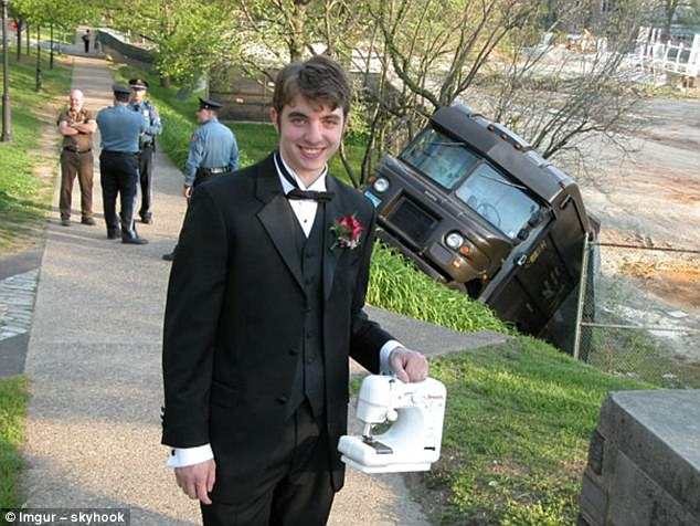 Where to start? Not only is this tuxedo-clad gentleman posing in front of a car crash with a grin on his face, he is also clutching a sewing machine