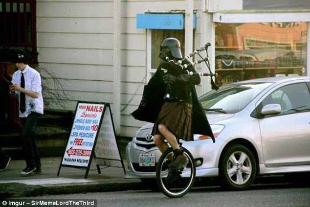Smart casual: In this case, we know who it is - a Portland-based bagpipe player with a fondness for Darth Vader and unicycles. But why?