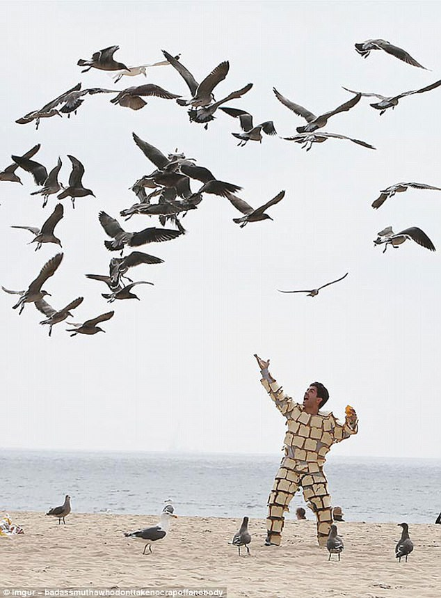 Serenading seagulls: This man has seemingly plastered himself with sliced bread - and is quite clearly enjoying the experience
