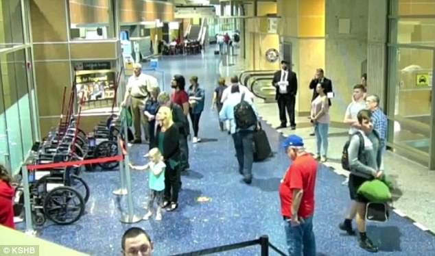 Foster was then seen on video following the pilot as they walked away from the plane and into the terminal