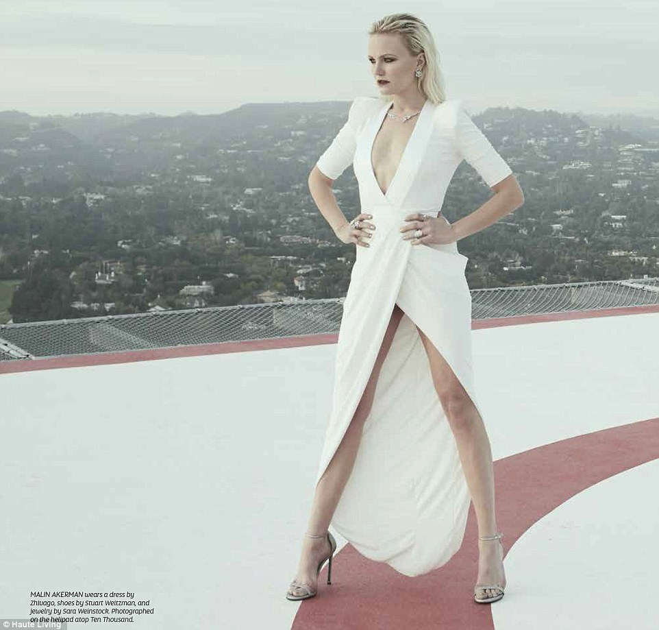Legs:In a dress by Zhivago, Malin let her gams shine as she stood on top of a building