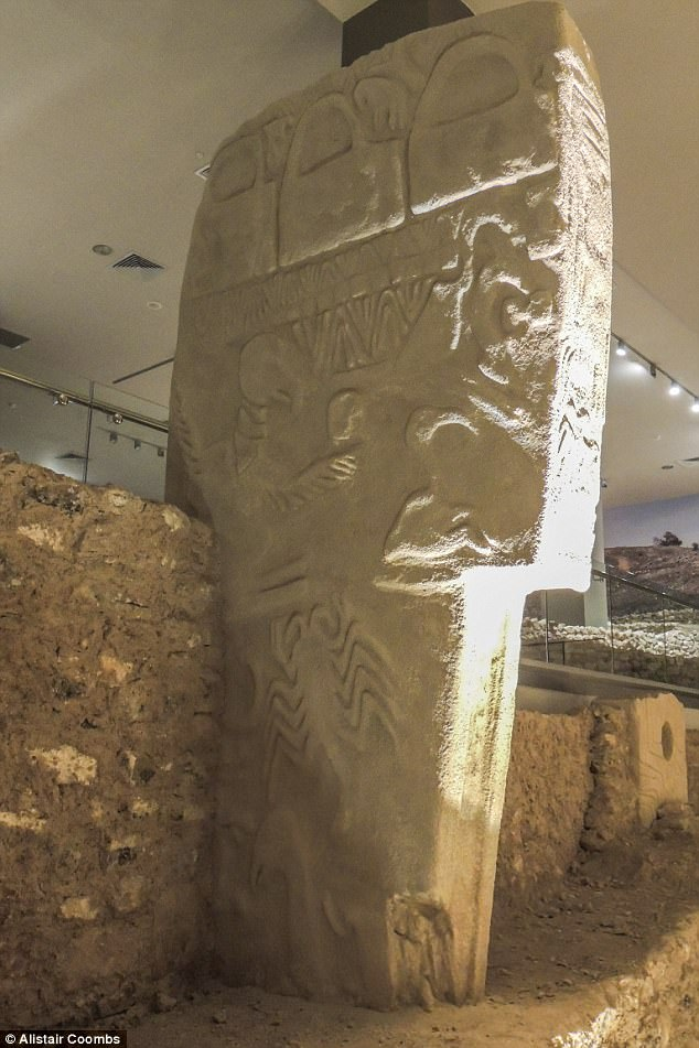 The comet's impact killed thousands of people and triggered a mini ice age that lasted more than 1,000 years. Pictured is a replica of the Vulture Stone at Sanliurfa Museum in Turkey