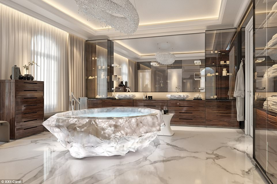 Washing the bank account clean: The much-anticipated XXII Carat villa complex on the celebrity-peppered Palm Jumeriah in Dubai boasts $1million bathtubs in the master bathrooms