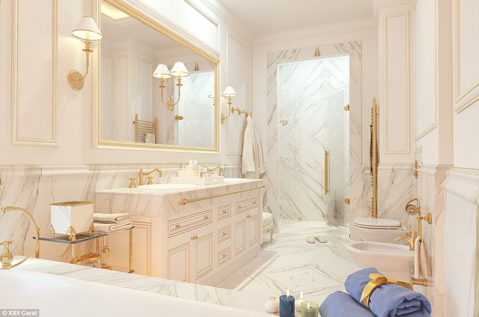 Trade off: The other bathrooms in the villas feature less fancy tubs, but there's plenty of marble cladding to make up for it