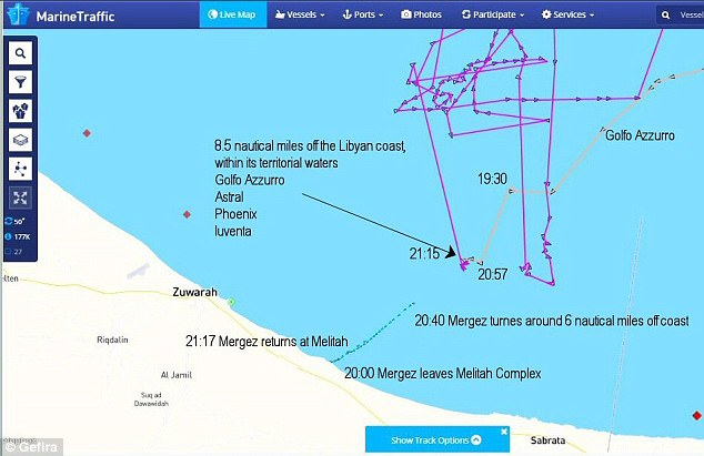 Four NGO ships - the Phoenix, the Astral, the Luventa and the Golfo Azzurro - all helped with the 'rescue' on October 12