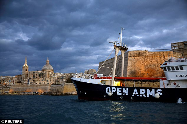 The former fishing trawler Golfo Azzurro, chartered by the Spanish NGO Proactiva Open Arms, was seen leaving the port of Malta in December 2016