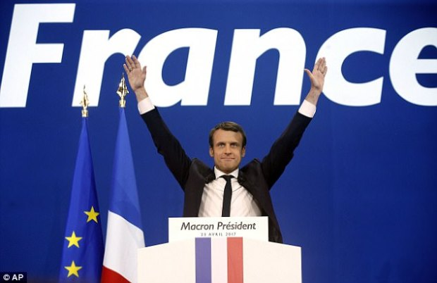In the first round of voting Emmanuel Macron received23.9 per cent of the vote. He was Hollande's top adviser on economic issues from 2012 to 2014 and was economy minister