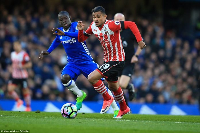 Newly-crowned PFA Player of the Year N'Golo Kante was in the thick of the action early on, here he pursues Sofiane Boufal