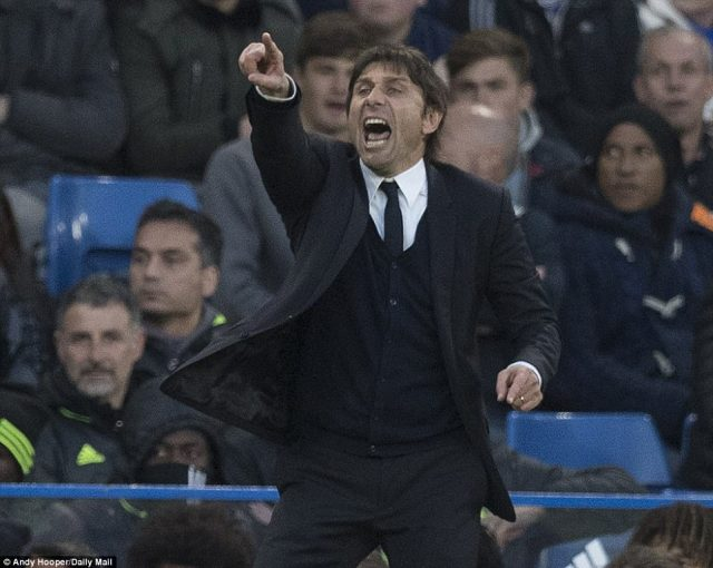 Chelsea manager Antonio Conte was typically wild in his gesticulations as he patrolled the home technical area