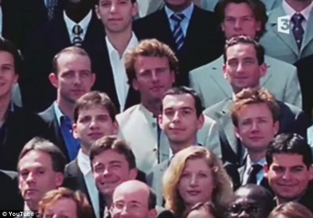 Destined: Emmanuel Macron, pictured centre in white jacket,'has a particular charm', according to his former English teacher. 'He displays a combination of brilliance and mystery that is almost irresistible'