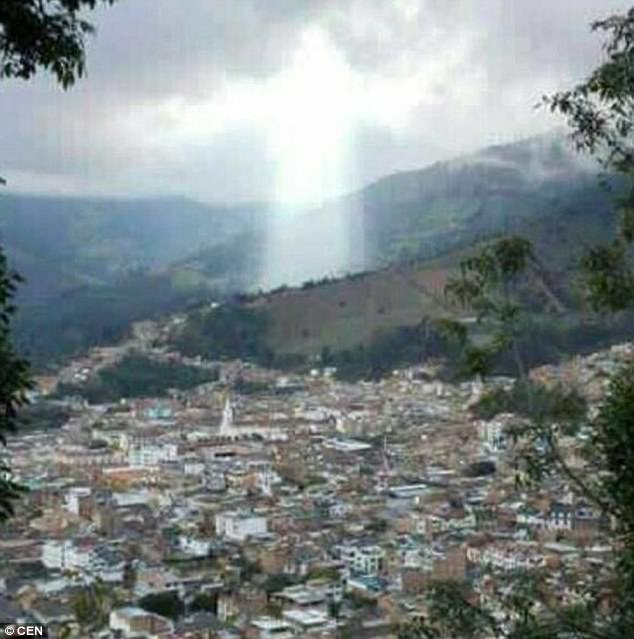 An unusual light in the sky which locals believed to be Jesus looking over Manizales, Columbia