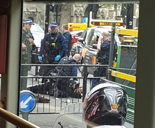 Armed police pinned a man 'carrying knives' to the floor near Parliament Square today