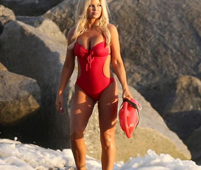 Donna Derrico Looked Stunning In A Red Baywatch Style