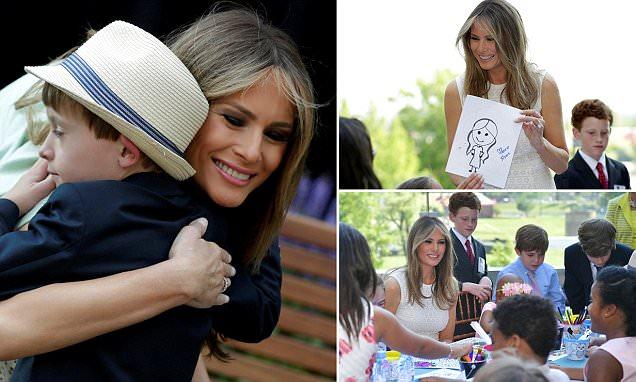 Melania Trump hugs Children's National Medical patients