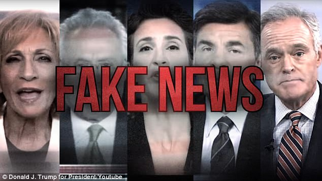 The first big planned ad buy from Donald Trump's re-election campaign blasts 'fake news' from (left to right) MSNBC's Andrew Mitchell, CNN's Wolf Blitzer, MSNBC's Rachel Maddow, ABC's George Stephanopoulos and CBS's Scott Pelley – but none of the networks will run the spot