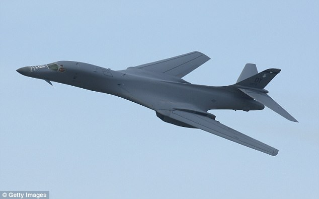 Two supersonic B-1B Lancers (file picture) were deployed in a joint training exercise with the Japanese air forces over the Korean Peninsula amid heightened tensions between Pyongyang and Washington