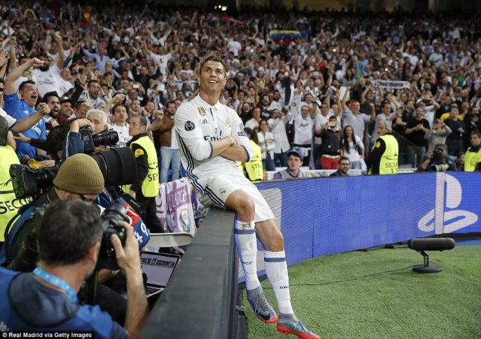 The former Manchester United forward milks the applause from the Bernabeu crowd after scoring his team's second goal