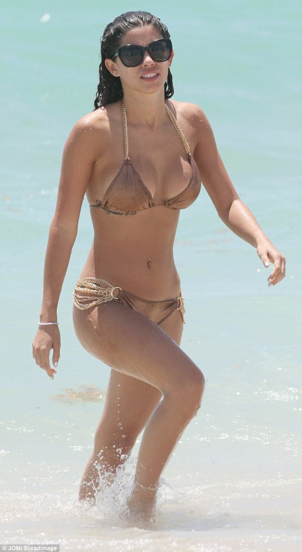 Yanking her chain: Justin Bieber's ex Alexandra Rodriguez wore a chain-embellished bikini on Tuesday in Miami
