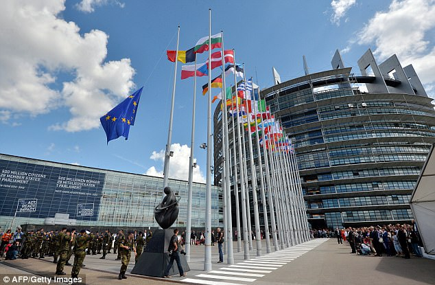 Among its many expensive buildings are the EU Parliament, built at a cost of £410 million (pictured)