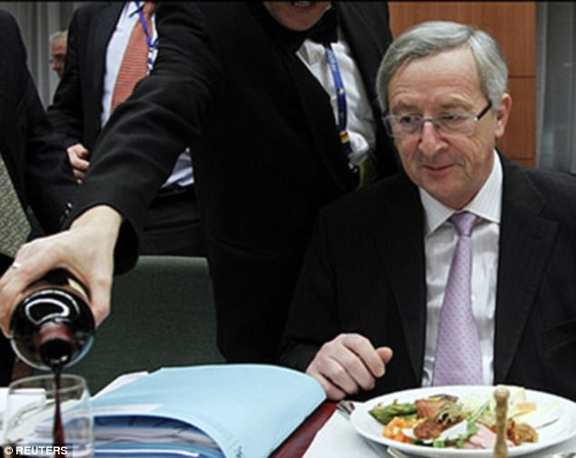 On the basis that Britain's entitled to an eighth of assets, this would cover roughly 5,000 bottles of wines (Jean-Claude Juncker pictured, enjoying a glass of red)