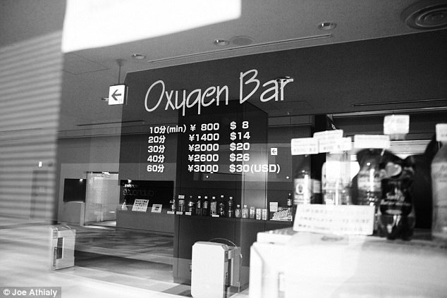 Breathe of fresh air: Customers can choose from a menu of exotically flavored gas at Narita International Airport's Oxygen Bar, from eucalyptus menthol to cinnamon