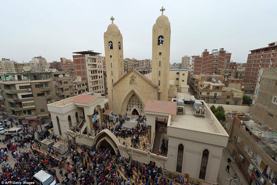 In April, two ISIS suicide bombers killed at least 45 people at churches in the cities of Alexandria and Tanta (pictured), one of the bloodiest attacks the country has experienced in years