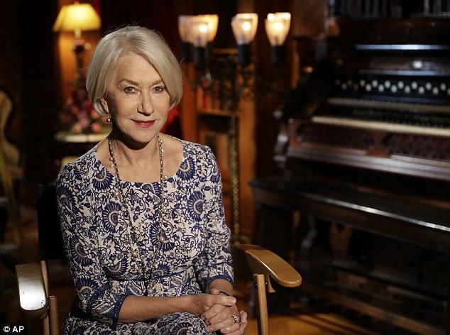 Supernatural thriller: Dame Helen Mirren posed for pictures at Winchester Mystery House in San Jose, California, after filming wrapped on her new film Winchester