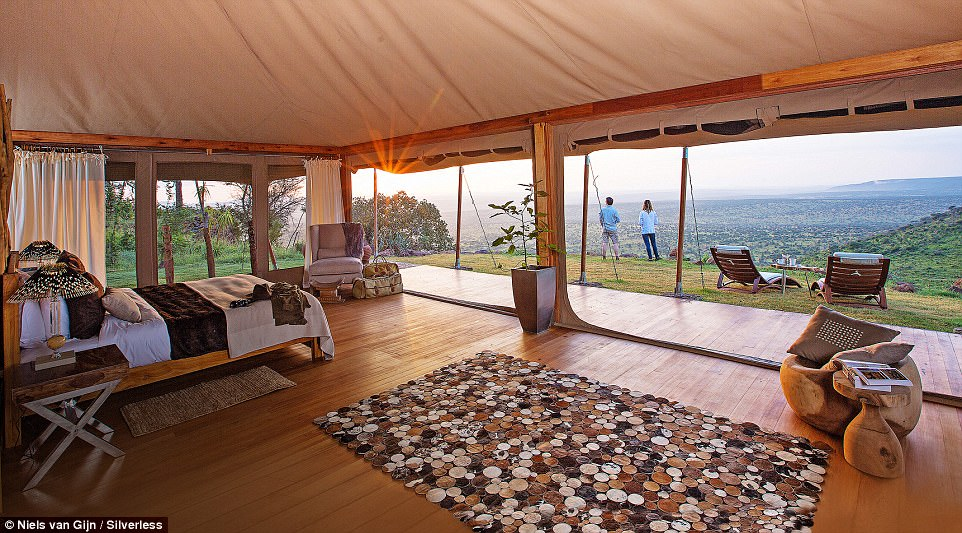 The Loisaba Tented Camp (pictured) – an ultra-modern, 24-bed resort – sits on 56,000 acres originally owned by an Italian count, high on the edge of a plateau with a view of Mount Kenya