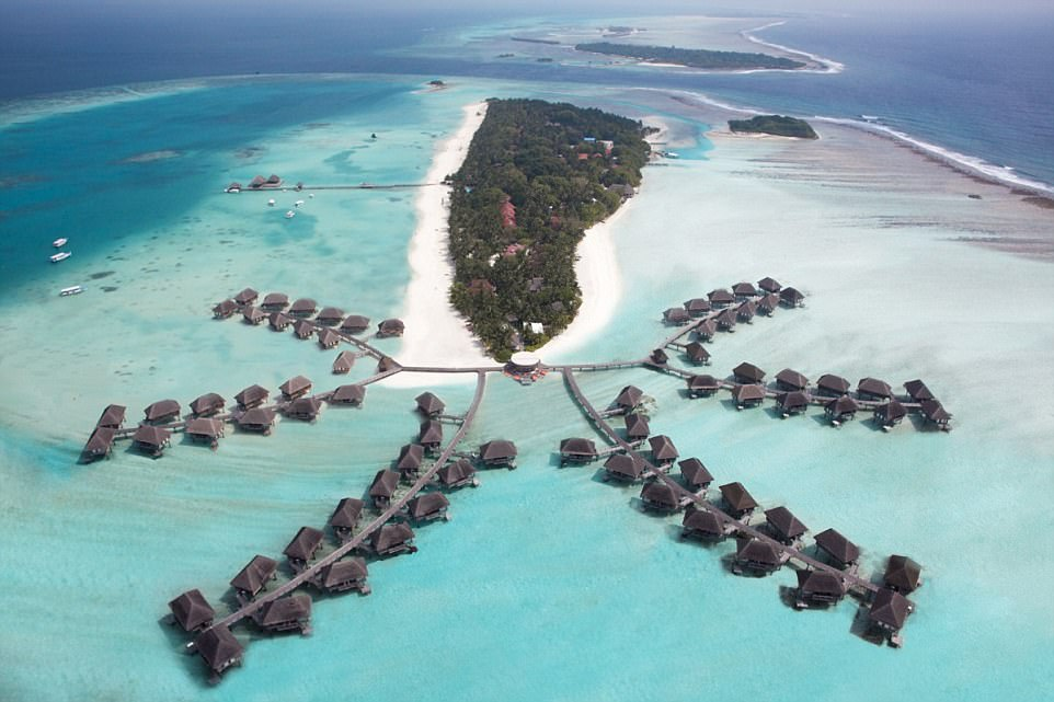 This aerial shot of the Club Med Maldives resorts is nothing short of breath-taking