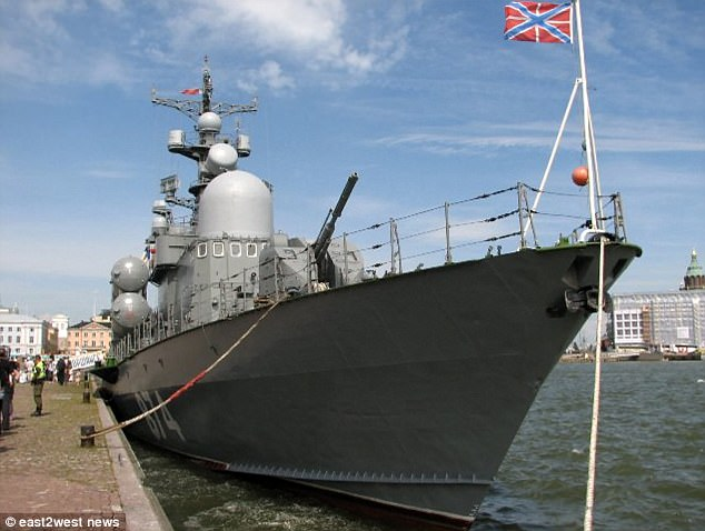 Russia has sent three corvettes, including Liven 551 (pictured), into Latvian territorial waters in what is thought to be a test of the Baltic nation, which is a member of the EU and NATO