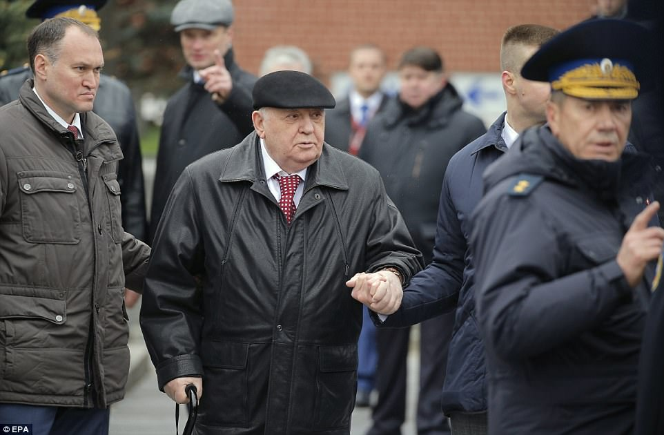 Former President of the USSR Mikhail Gorbatchev (centre) was among the VIP guests who watched the parade this morning