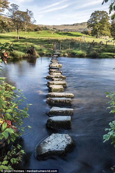 Stepping stones feature smooth edges where they have been worn away over the years