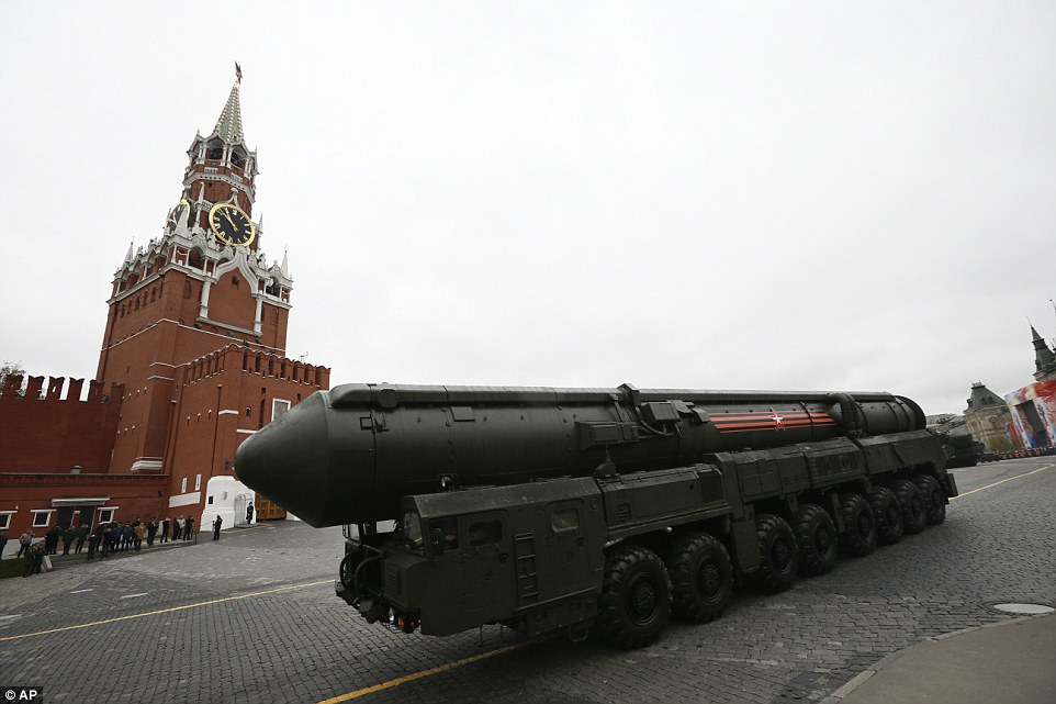 This enormous Russian Topol M intercontinental ballistic missile launcher was among a terrifying arsenal of weapons on display
