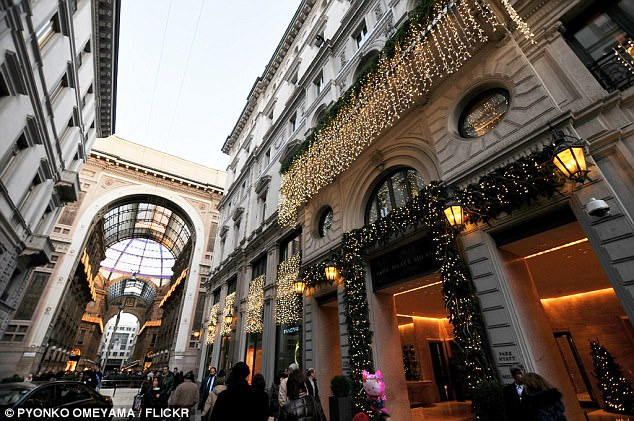 He is staying at the five-star Park Hyatt hotel in Milan (pictured) and is reportedly taking up two floors with his entourage