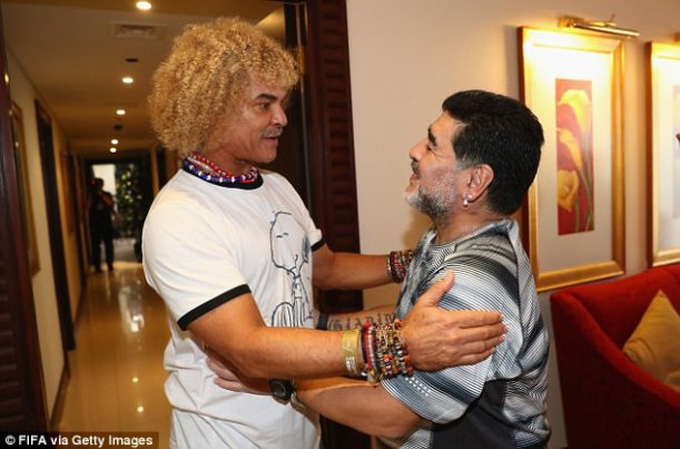 Diego Maradona greets former Colombia international midfielder Carlos Valderrama