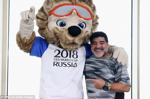 The former Argentina captain alongside Zabivaka, the official mascot for the 2018 World Cup