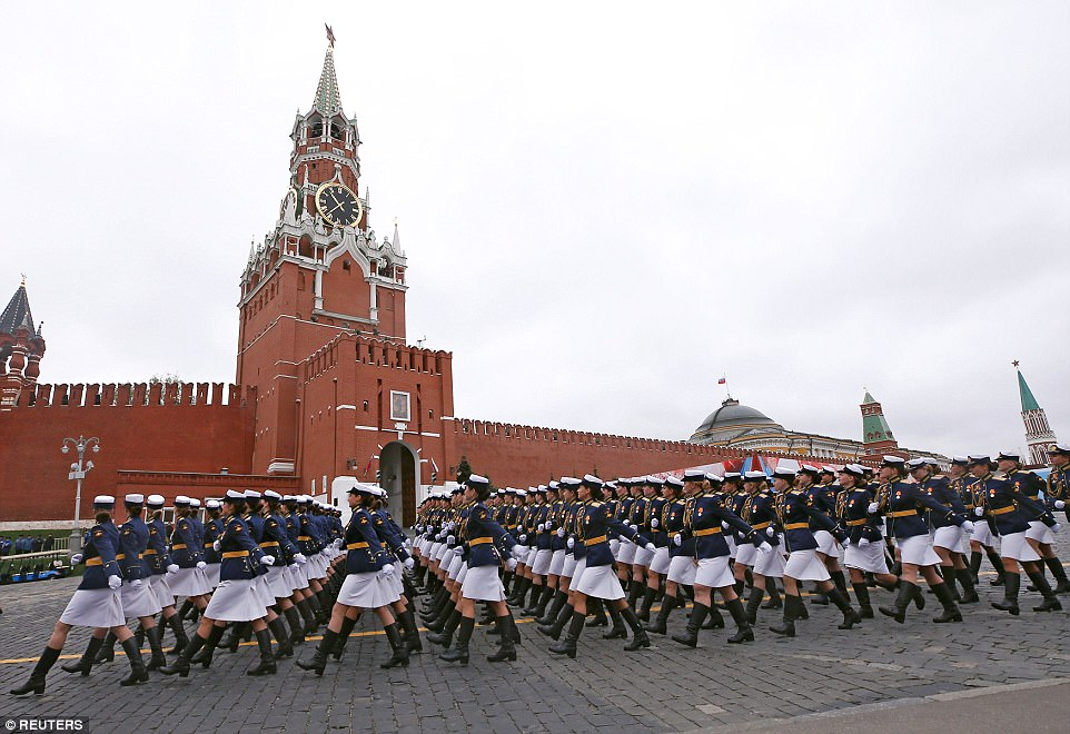 The annual event marks the anniversary of the end of the Second World War and sees thousands of military personnel marching through Red Square