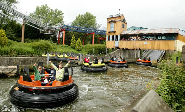 The Splash Canyon ride (file picture) at Drayton Manor Theme Park in Staffordshire was closed