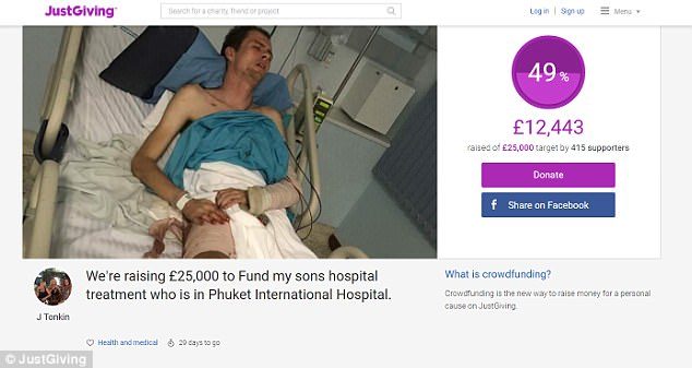 Jake's mother Jane - thousands of miles away in Mobberley, Cheshire - frantically started a crowdfunding campaign on Monday, as doctors allegedly refused to treat Jake without payment