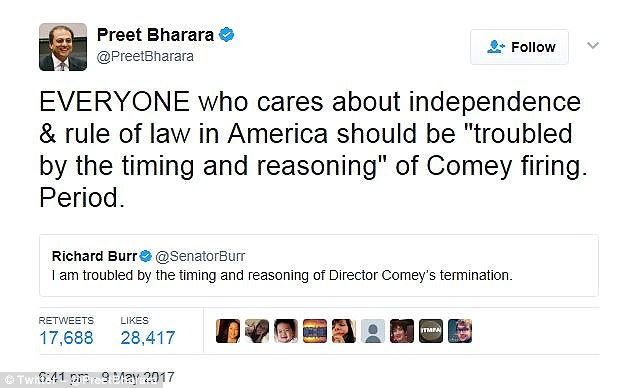 "'EVERYONE who cares about independence & rule of law in America should be ""troubled by the timing and reasoning"" of Comey firing. Period,' former US attorney Preet Bharara tweeted Tuesday in response to a Republican lawmaker, Richard Burr"