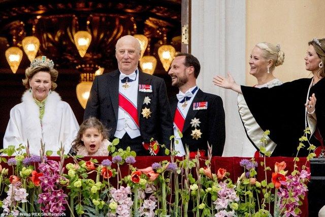 Queen Sonja and King Harald join Princess Emma Tallulah Behn, Crown Princess Mette-Marit, Crown Prince Haakon and Princess Martha Louise
