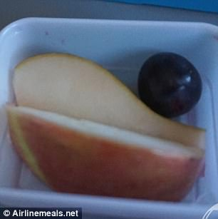 Another customer was presented with a fruit salad consisting of two apple slices and a lone grape