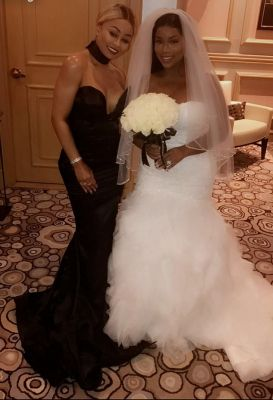 Blac and white: Blac Chyna attended the wedding of her friend Kendra Johnson on Friday