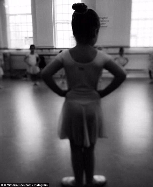 Ballerina-in-training: Harper, five, has started classes at the Italia ContiAcademy of Theatre Arts in central London and has been learning ballet since she was four years old
