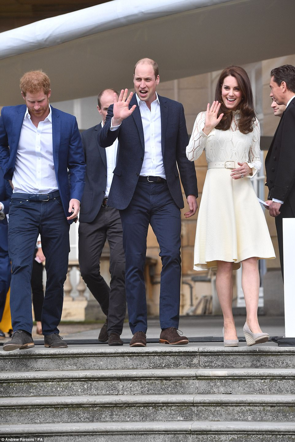 The Duke and Duchess of Cambridge and Prince Harryhosting a Buckingham Palace tea party for the children of Armed Forces men and women who died in service to their country