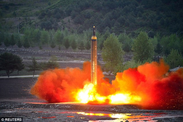 North Korea test-fired a Hwasong-12 ballistic missile on Sunday (pictured), believed to be the longest-range weapon ever developed by the regime